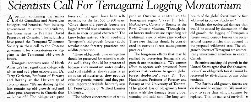 Petition by scientists to stop logging in Temagami