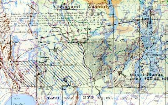 Temagami Magnetic Anomaly superimposed with Native map